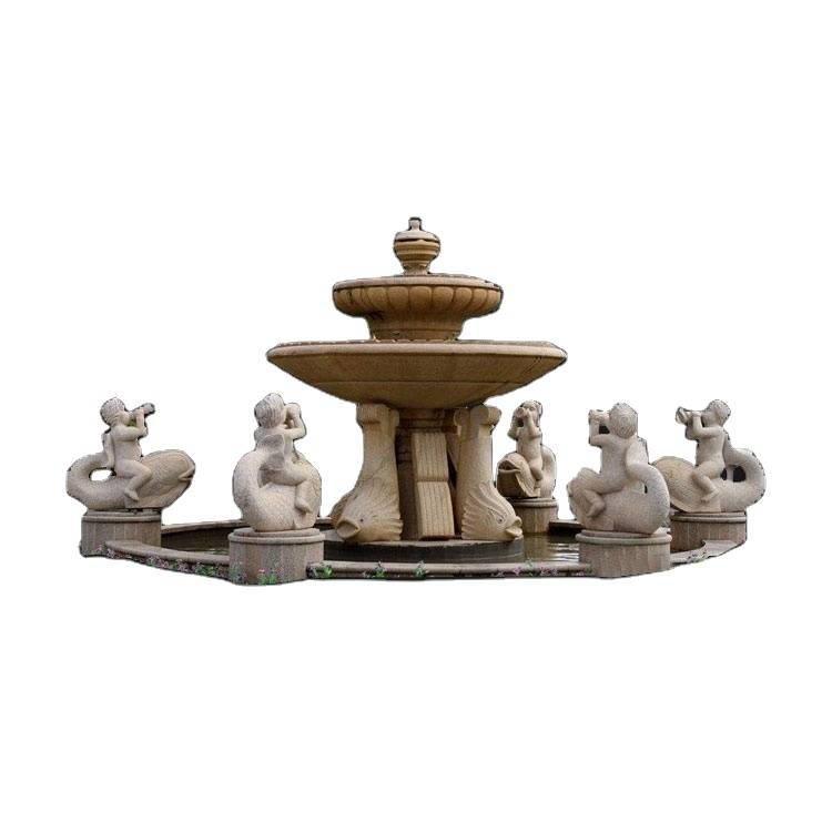 Outdoor garden home decor boy with fish stone fountain