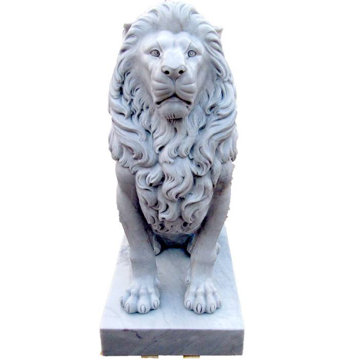 garden carved animal sculpture large stone white marble lions statues for sale