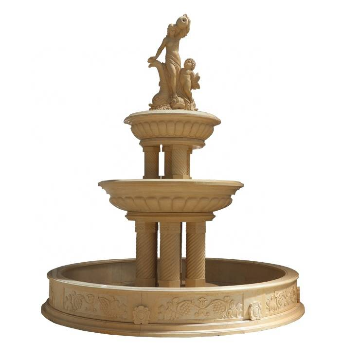 China Modern Handcarved Natural Stone Used Outdoor Marble Fountains For Sale