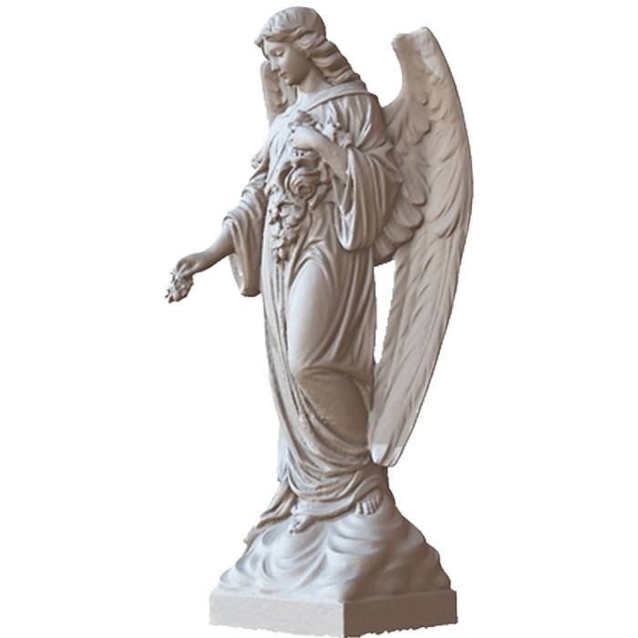 Garden Decoration Outdoor  Stone Life Size White Marble Angel Statue