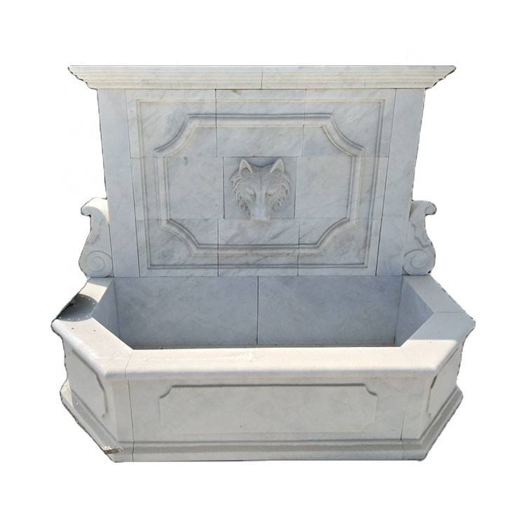 Garden decoration white marble sculpture wall fountain indoor for sale