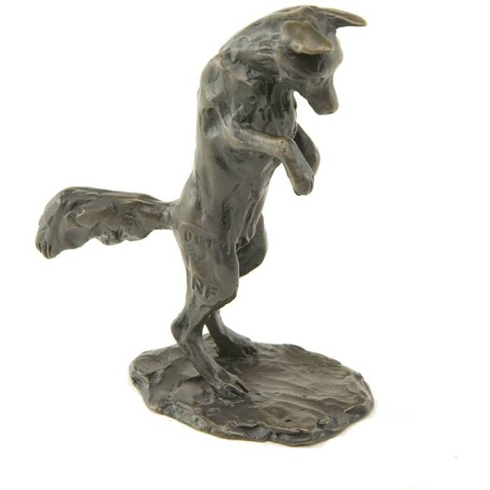 High quality statue life size bronze fox sculpture for garden decor