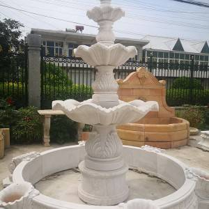 Modern natural stone garden used marble outdoor water fountains for sale