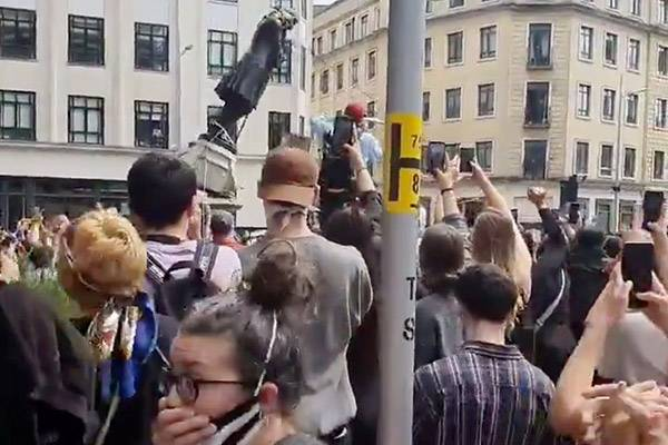UK protesters pull down statue of 17th-century slave trader in Bristol
