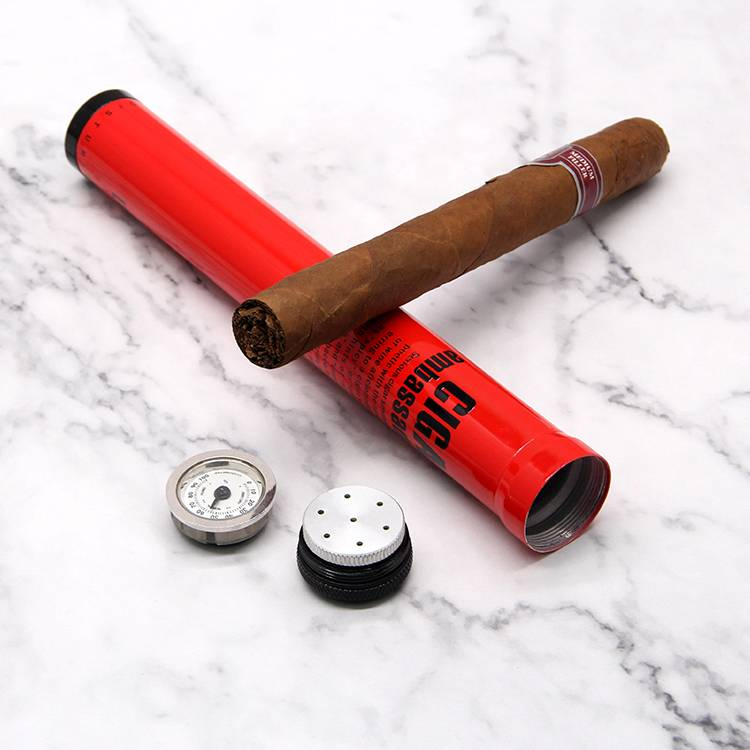 Custom stainless steel metal cigar tube case with screw cap cigar accessories