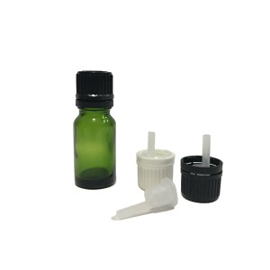 20ml green glass essential oil bottle with orifice reducer dropper lid