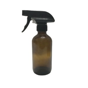 8oz 250ml amber boston round glass spray bottles with trigger sprayer