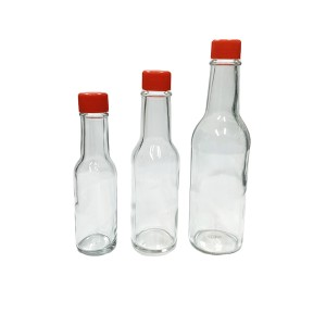 5oz woozy hot sauce empty glass bottle with cap and dripper and shrink band