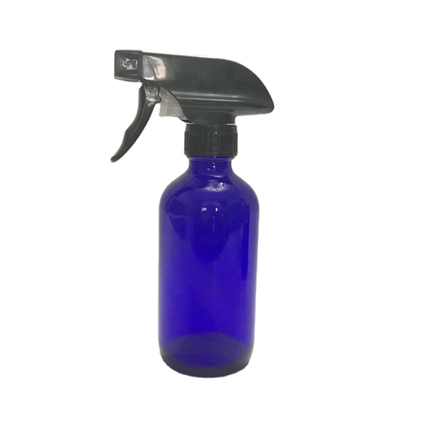 500ml 16oz cobalt blue boston round glass trigger spray bottle with pump for essential oils Featured Image