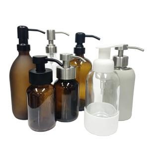 8oz 250ml amber glass bottle with black stainless steel foaming pump dispenser