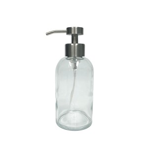 400ml glass hand soap bottle with stainless steel foaming pump dispenser and silicone sleeve