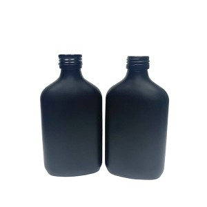 200ml matte black coated flask glass liquor bottle with aluminum lid
