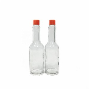 2oz 60ml red chilli pepper hot sauce glass bottle with red hard plastic lid