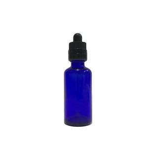 100ml cobalt blue glass essential oil dropper bottle with child proof CR lid