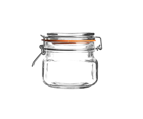 GLASS FOOD STORAGE JAR