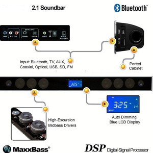 Top quality MAXX BASS touch screen soundbar with 2.4G wireless subwoofer(SP-602 with subwoofer)
