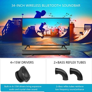 Top selling Sound Bar EYIN 2.1 Channel Bluetooth Soundbar for TV with Subwoofer Home Theater System 34-inch Soundbar 5.5-inch Subwoofer 4 Speakers 120W 95dB Remote Control 2020 Model(SP-607 with subwoofer)