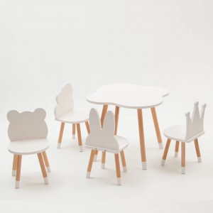 Customized Shape Wooden Kids Table and Chairs Set