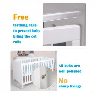 2in1 Wooden Baby Bed Nursery Furniture Baby Crib