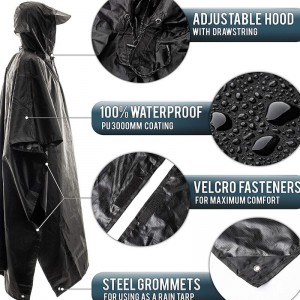 Custom Waterproof Breathable Unisex Rain Poncho  USD5.2-USD8.3