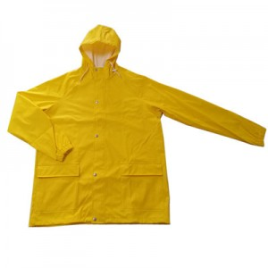 Customized colorful soft 100% waterproof Polyurethane rain jacket with pocket USD11.9-14