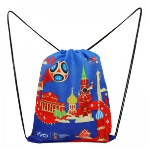 210 Denier Recycled polyester pp rope full color printed drawstring bag