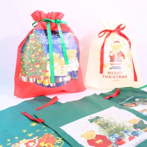 Christmas drawstring Bags and Multifunctional Non-Woven Christmas Bags for Gifts Wrapping Shopping