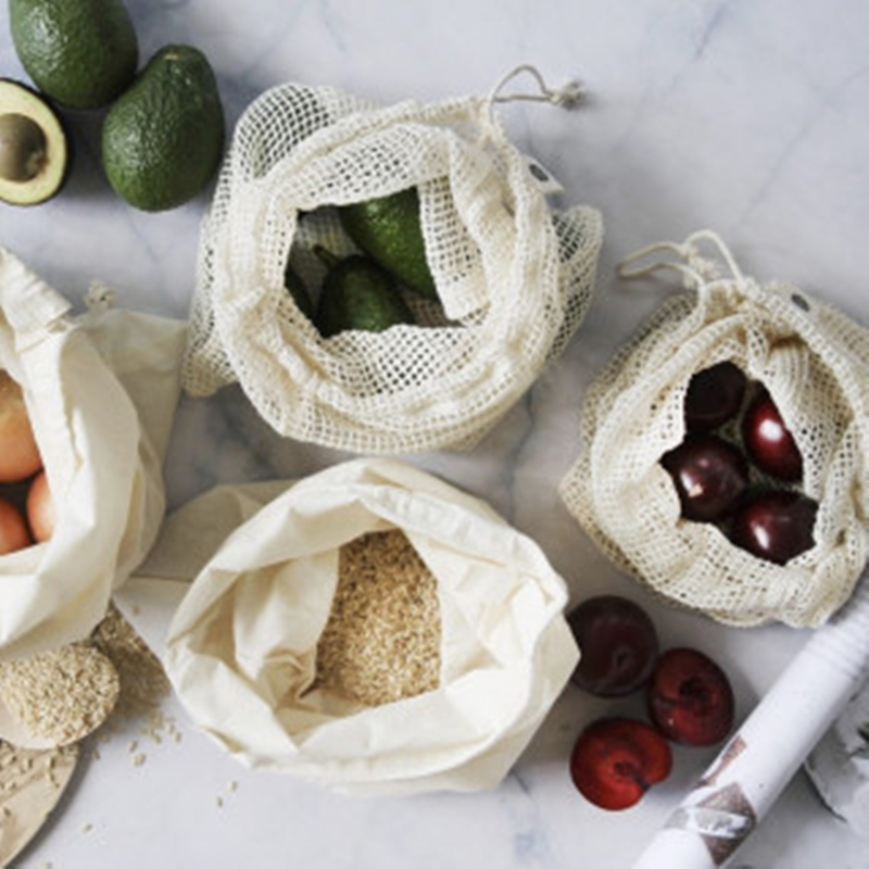 Eco friendly product shopping cotton linen drawstring mesh bag vegetable fruit cotton mesh bag Featured Image