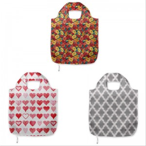 Eco-Friendly Customized Recycling Reusable Foldable Polyester RPET Shopping Bag With Pouch for Supermarket Grocery