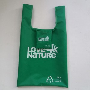 Recycle foldable eco friendly fabric for grocery RPET shopping bag