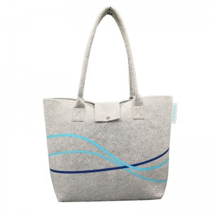 Recycling reusable durable felt shopping tote bag with a small pocket