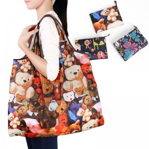 Reusable Foldable Shopping Travel Tote Bags Colorful Grocery Eco Bags With Pouch