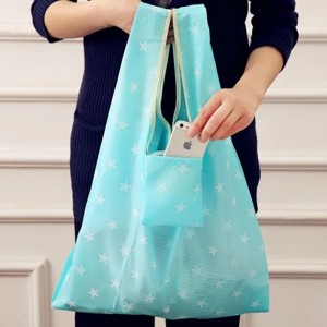 Walmart China Factory Supply Heavy Duty Expandable Folding Tote Bag Reusable 190T Polyester Foldable Grocery Shopping Bag