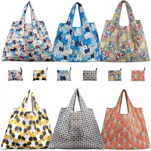Wholesale Eco Friendly RPET Foldable Polyester Tote Shopping Bag Custom Reusable Grocery Bag