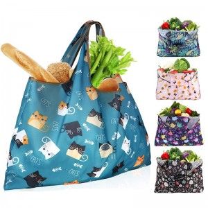 Wholesale RPET Foldable Large shopping Bags with Pocket Custom printing