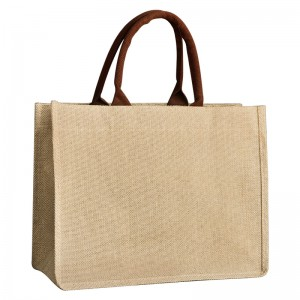 Wholesale Promotion Cotton Jute Grocery Shopping Burlap Beach Tote Bag With Handle