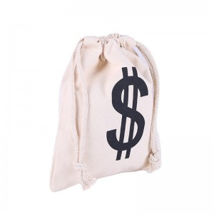 Wholesale canvas cotton with custom logo printed drawstring bags with double string