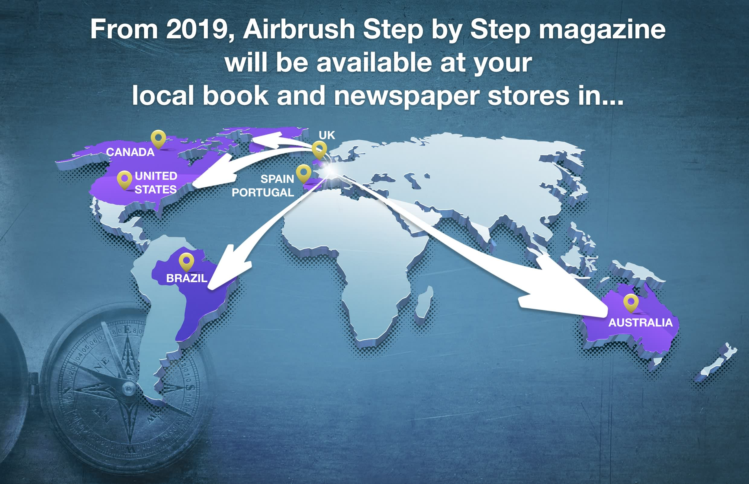 Airbrush Step by Step magazine available in book stores in 7 countries from 2019