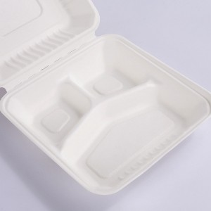 ZZ Biodegradable Rectangle White Sugarcane/Bagasse Clamshell Container-3-Compartments- 9″ x 9″ x3″ -200 count box