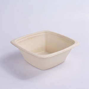 ZZ Eco Products 32 OZ Square Natural Sugarcane/Bagasse Tall Bowl-7″ x 7″ x 2 3/4″-300 count box