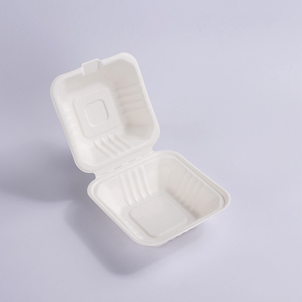 ZZ Biodegradable 6X6 Take Out Hinged Clamshell Compostable Large Hinged Sandwich & Hamburger Container Featured Image