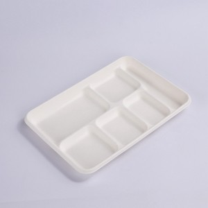 ZZ Eco Products 6-Compartments Lunch Tray 12 3/5″ x 8 3/4″ x 1 1/5″-250 count box