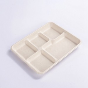 ZZ Eco Products 5-Compartments Lunch Tray 12.5″ x 8 1/2″ x 1″-500 count box