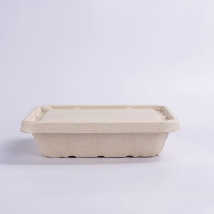 ZZ Eco Products 1200ml Rectangle Biodegradable Bagasse Food Container Lid