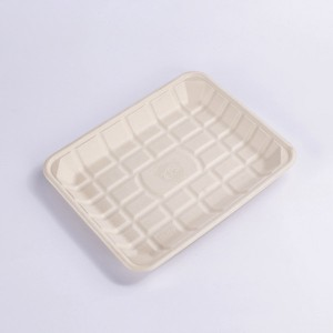 "ZZ Eco Products TAN Fiber Meat Trays- 9 "" X 11 3/4″ X 1 1/5″, 2/125"