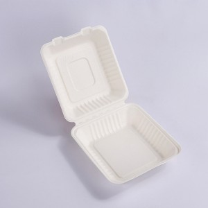 ZZ Biodegradable Rectangle White Sugarcane/Bagasse Clamshell Container 8″ x 8″ x3″ -200 count box
