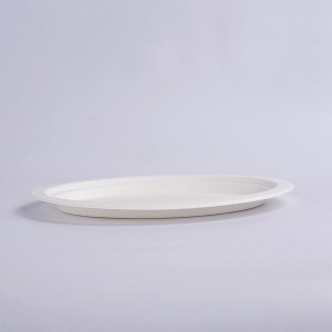 ZZ Eco Products Biodegradable White Sugarcane/Bagasse Oval Plate- 10″x 8″ x 4/5″-500 count box