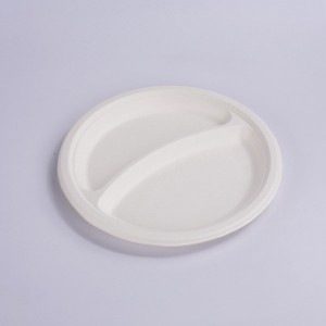 Eco-friendly Biodegradable & Compostable – Paper & Plastic Alternative – Heavy Duty – 9″ 2-Compartments Plate
