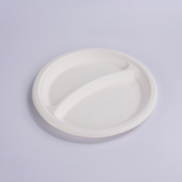 Eco-friendly Biodegradable & Compostable – Paper & Plastic Alternative – Heavy Duty – 9″ 2-Compartments Plate Featured Image