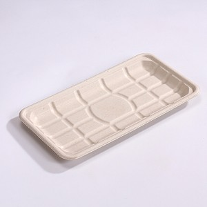 "ZZ Eco Products TAN Fiber Meat Trays- 11 "" X 5 3/4″ X 3/4″, 4/125"